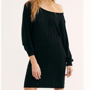 NWT Free People Dolman Sleeves Black Mini Dress